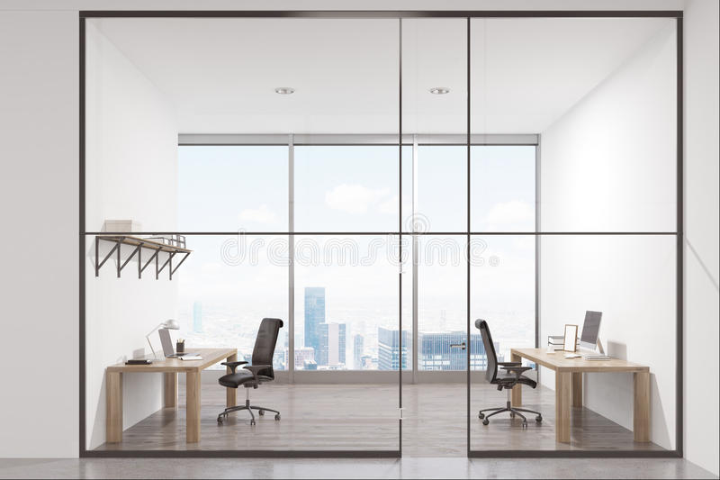 Luxury office interior. With two tables standing near the walls and a panoramic window. There is a shelf above a desk. 3d rendering vector illustration