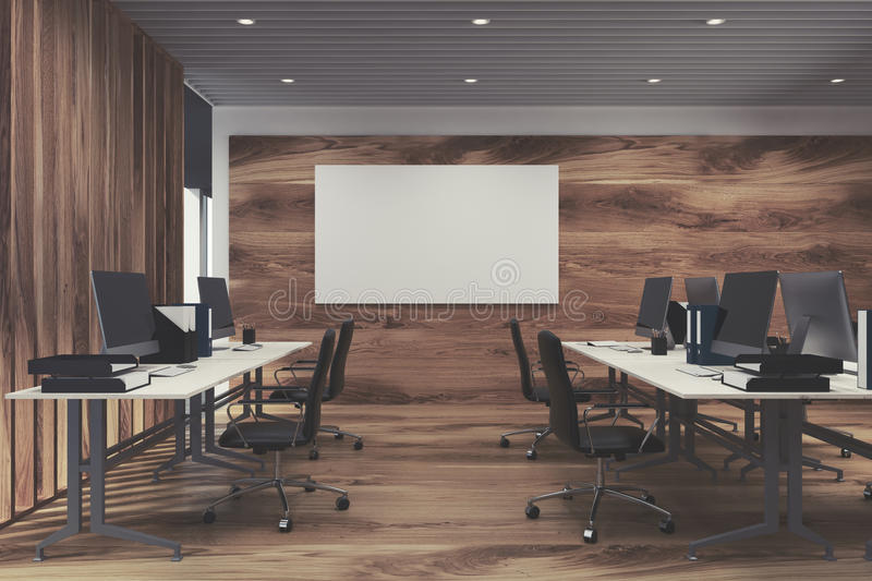 Luxury office interior with white computer tables and panoramic windows. Poster on a dark wooden wall. 3d rendering mock up royalty free illustration
