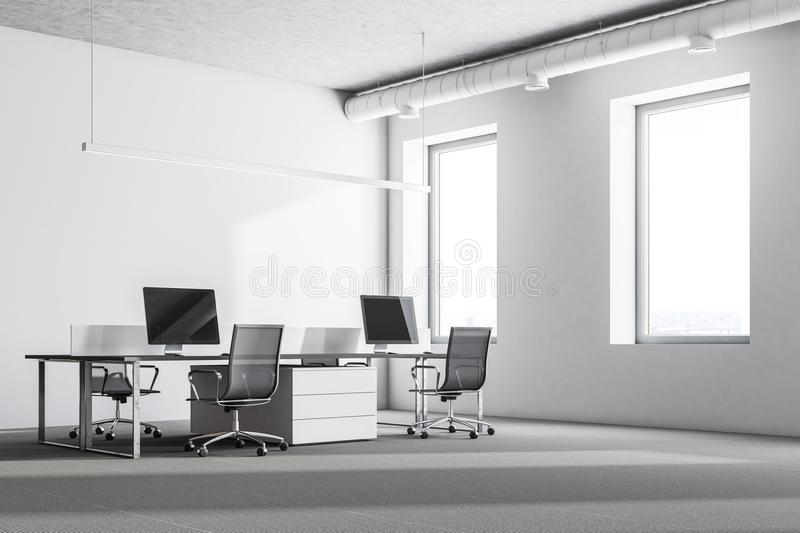 Luxury office corner. Luxury office interior with white walls, large windows, a concrete floor and rows of computer tables. 3d rendering mock up stock illustration