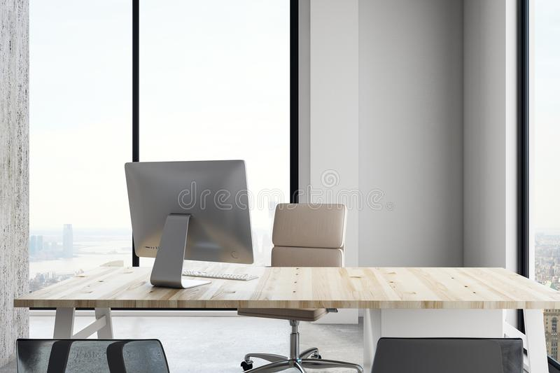 Luxury office interior. With workplace and panoramic city view with daylight. 3D Rendering stock illustration