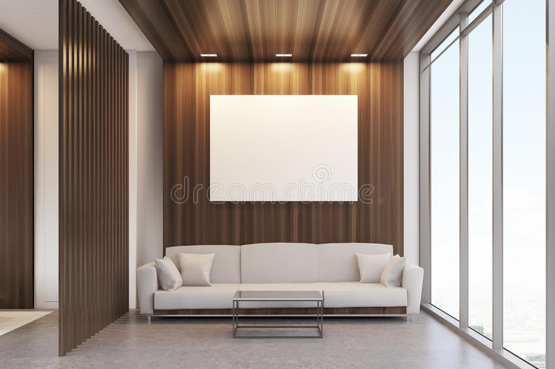 Luxury Office Waiting Room With Dark Wooden Decoration Elements, Panoramic  Window And A Large Comfortable Sofa With Cushions. 3d Rendering. Mock Up.