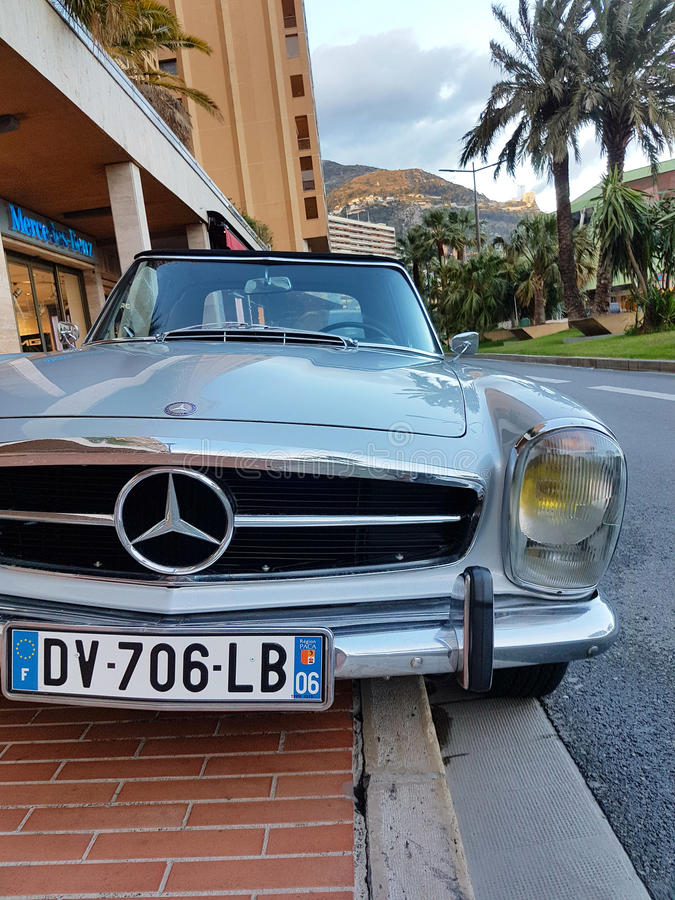 Luxury Old Mercedes-Benz Roadster Parked in Monaco. Monte-Carlo, Monaco - March 4 2017: Luxury Old Mercedes-Benz Roadster Badly Parked on the Sidewalk in Monaco royalty free stock photo