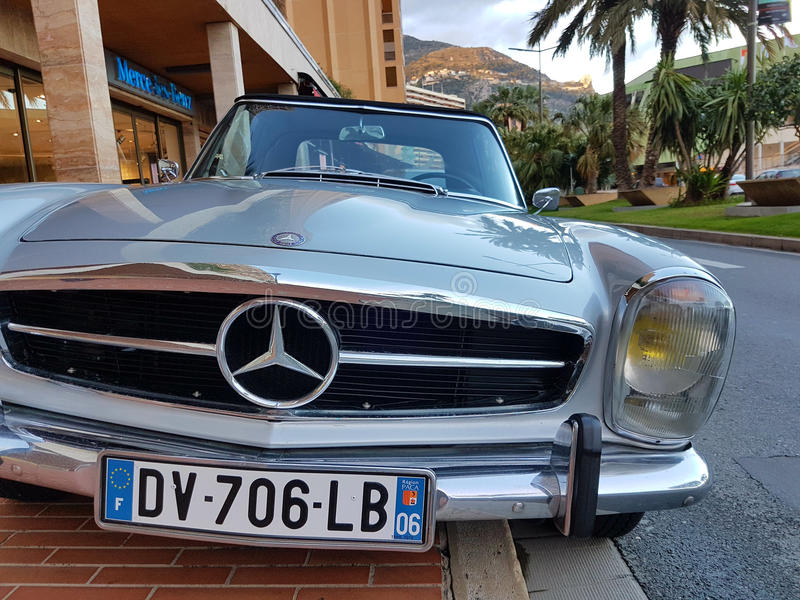 Luxury Old Mercedes-Benz Roadster Parked in Monaco. Monte-Carlo, Monaco - March 4 2017: Luxury Old Mercedes-Benz Roadster Badly Parked on the Sidewalk in Monaco royalty free stock images