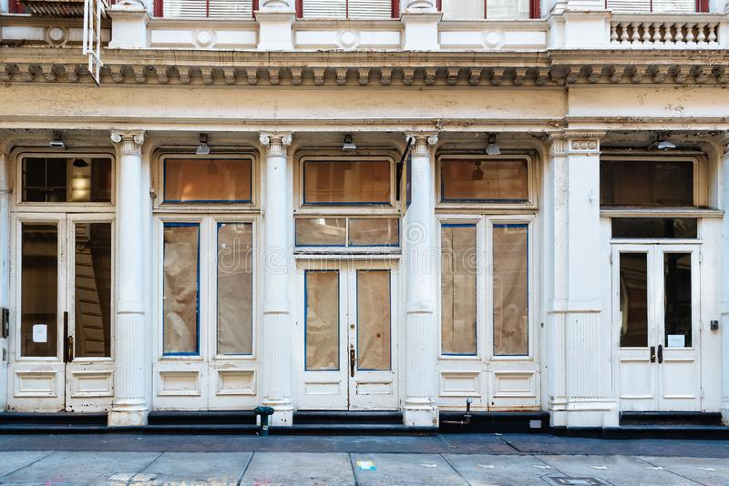 Luxury old storefront in remodeling in New York stock images