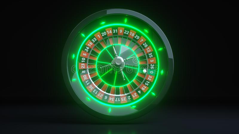 Luxury Online Casino Gambling Roulette Wheel 3D Realistic With Neon Green Lights - 3D Illustration. Casino Gambling Futuristic Concept, Roulette Wheel 3D vector illustration