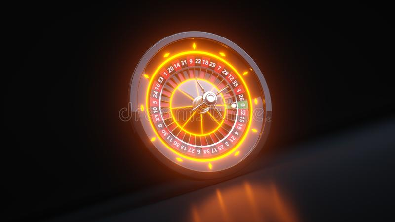 Luxury Online Casino Gambling Roulette Wheel 3D Realistic With Neon Lights - 3D Illustration. Casino Gambling Futuristic Concept, Roulette Wheel 3D Illustration royalty free illustration