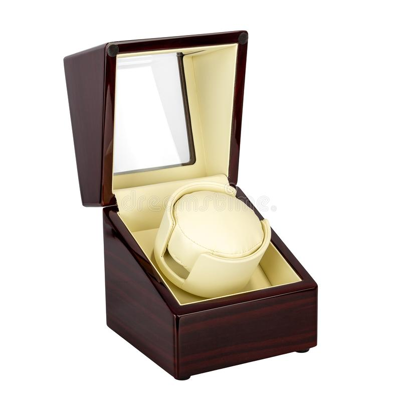Luxury open box for storing watches. Luxury open box of wood and glass for storing watches stock images