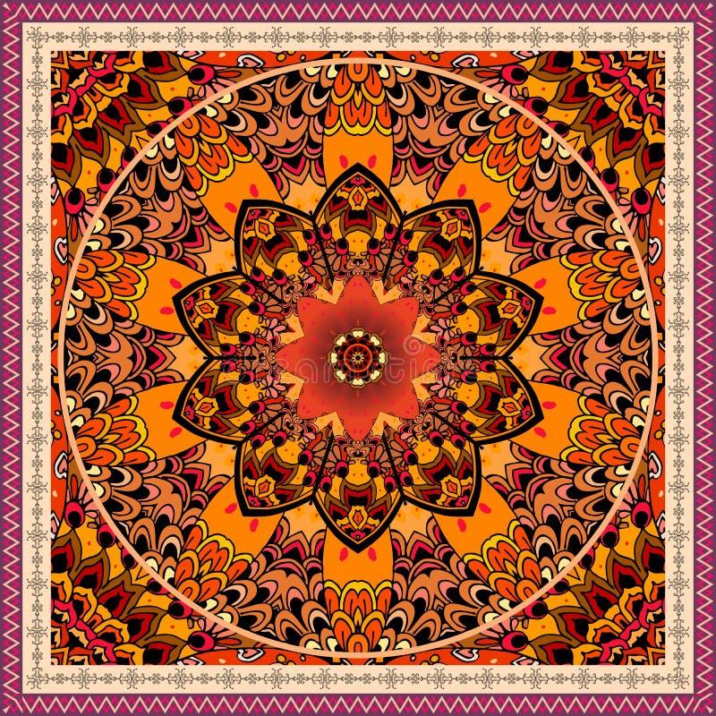 Luxury ornament with mandala flower on decorative ethnic background. Beautiful frame. Tablecloth, carpet, shawl. Indian motif vector illustration