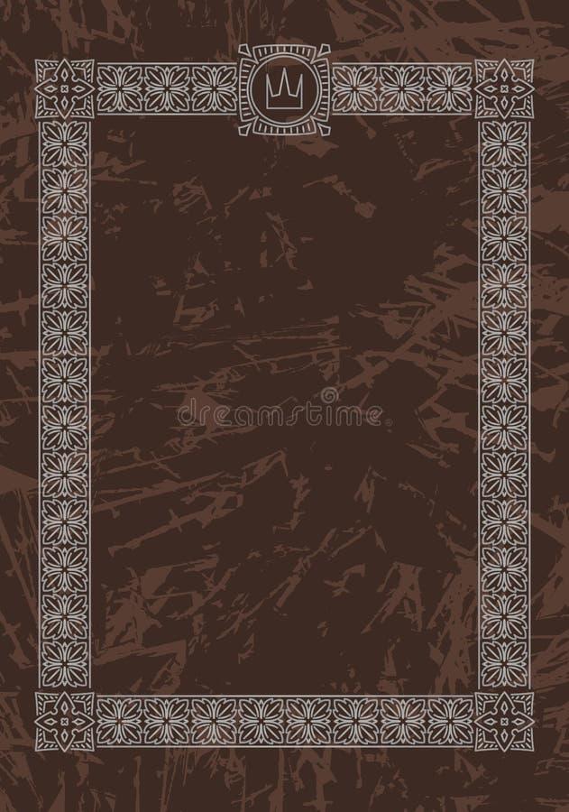 Luxury, ornate, vintage frame with crown on aged dark brown back vector illustration