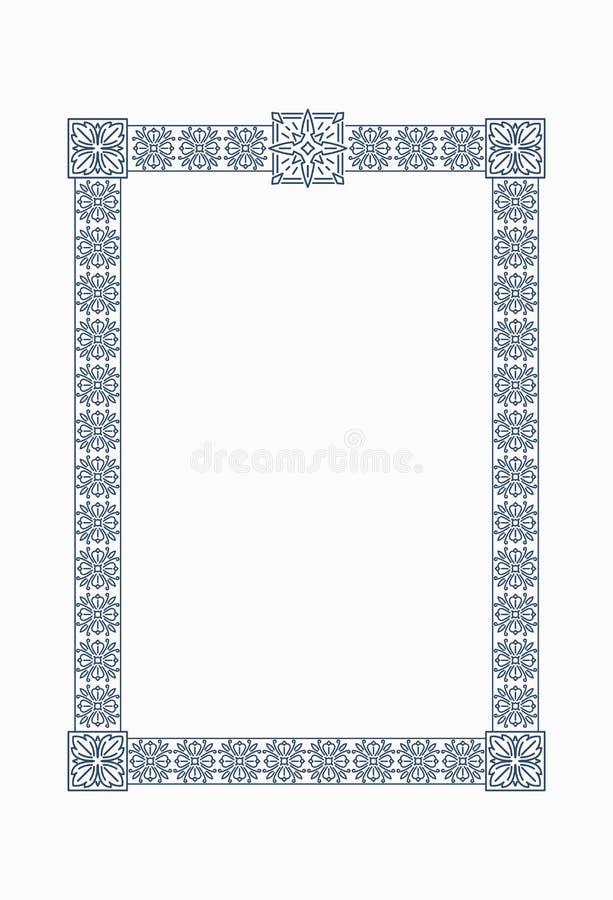 Luxury, ornate, vintage frame with floral decorative elementsin royalty free illustration