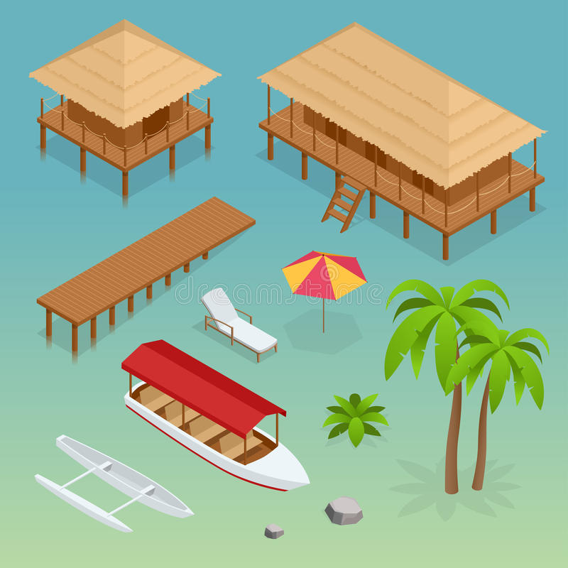 Luxury overwater thatched roof bungalow, bridge, palm tree, pleasure boat, kayak, beach lounger and sun umbrella. Tropical vacations. Isometric vector royalty free illustration