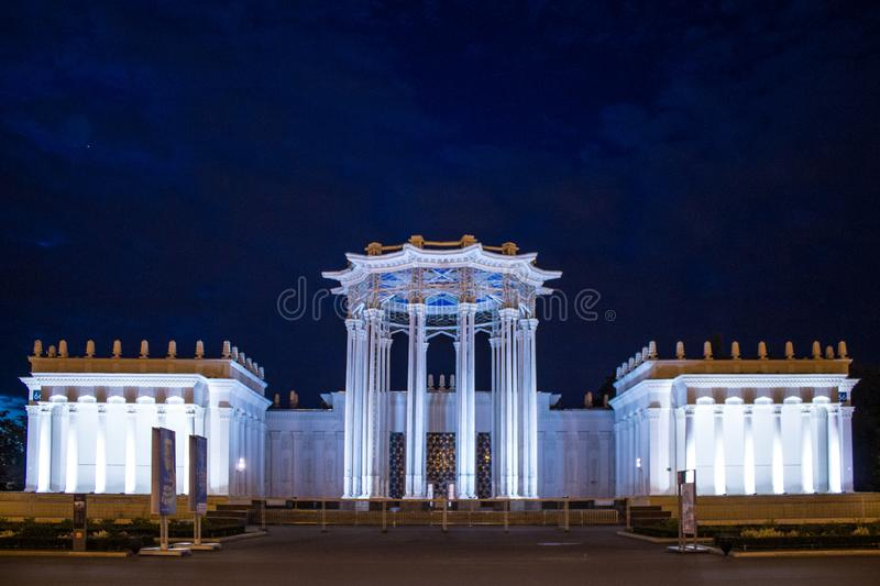 Palace of the exhibition of achievements of the national economy summer night Moscow Russia. Luxury Palace c exhibition of achievements of national economy royalty free stock images