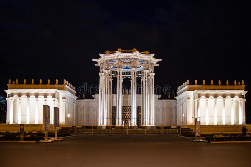 Palace of the exhibition of achievements of the national economy summer night Moscow Russia. Luxury Palace c exhibition of achievements of national economy stock photography