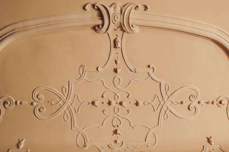 Luxury pattern stucco on the wall and ceiling. interior texture, background royalty free stock image