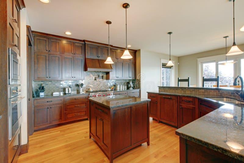 Luxury pine wood beautiful custom kitchen stock photo