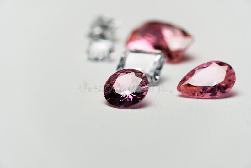 Luxury pink white gemstone for jewelry on white fashion background. Luxury precious pink white gemstone for jewelry on white fashion background stock image