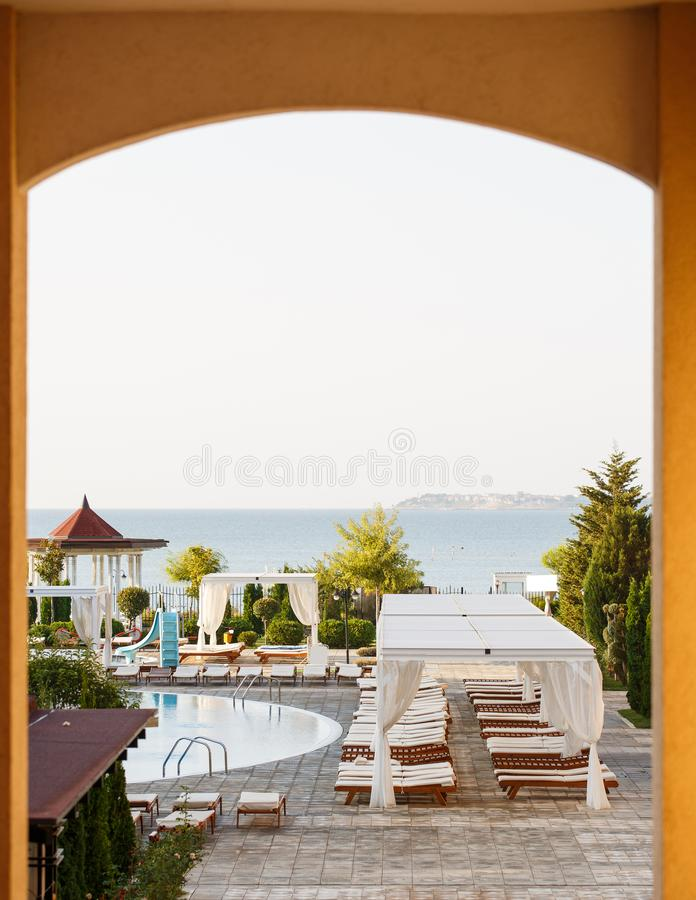 Luxury place resort and spa for vacations. Summer holiday in the hotel stock images
