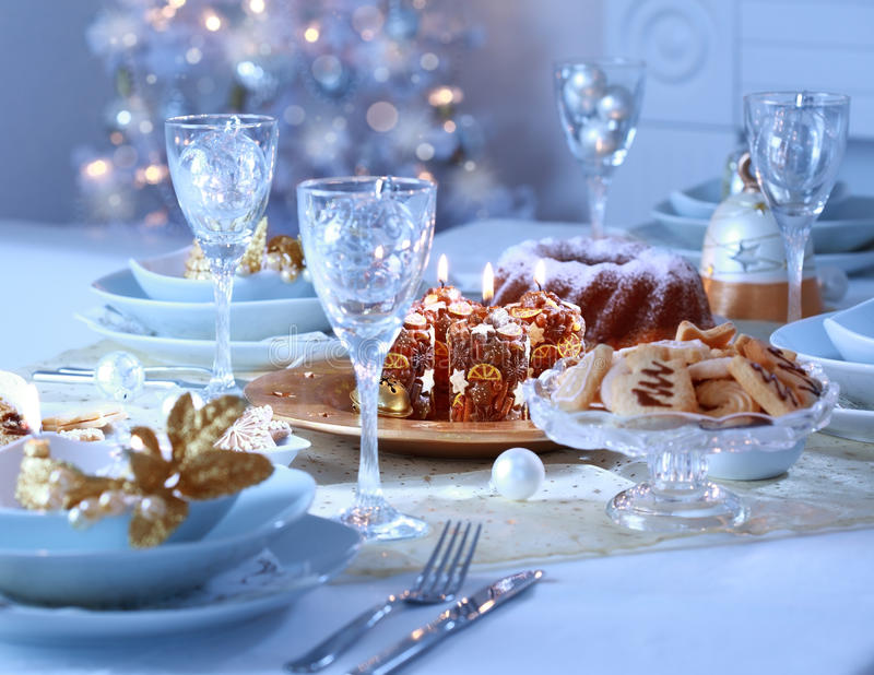 Luxury place setting for Christmas stock images