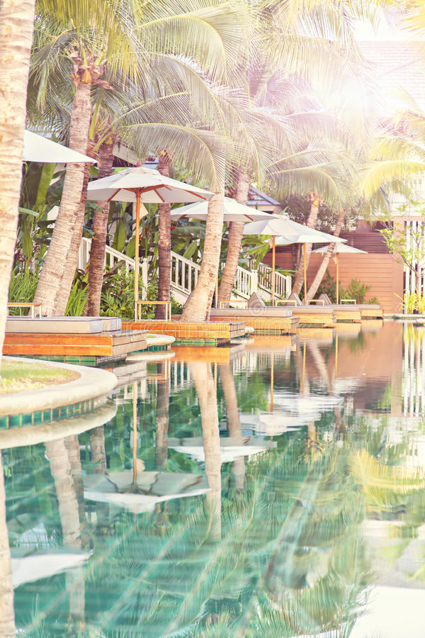 Luxury Pool With Loungers Royalty Free Stock Images