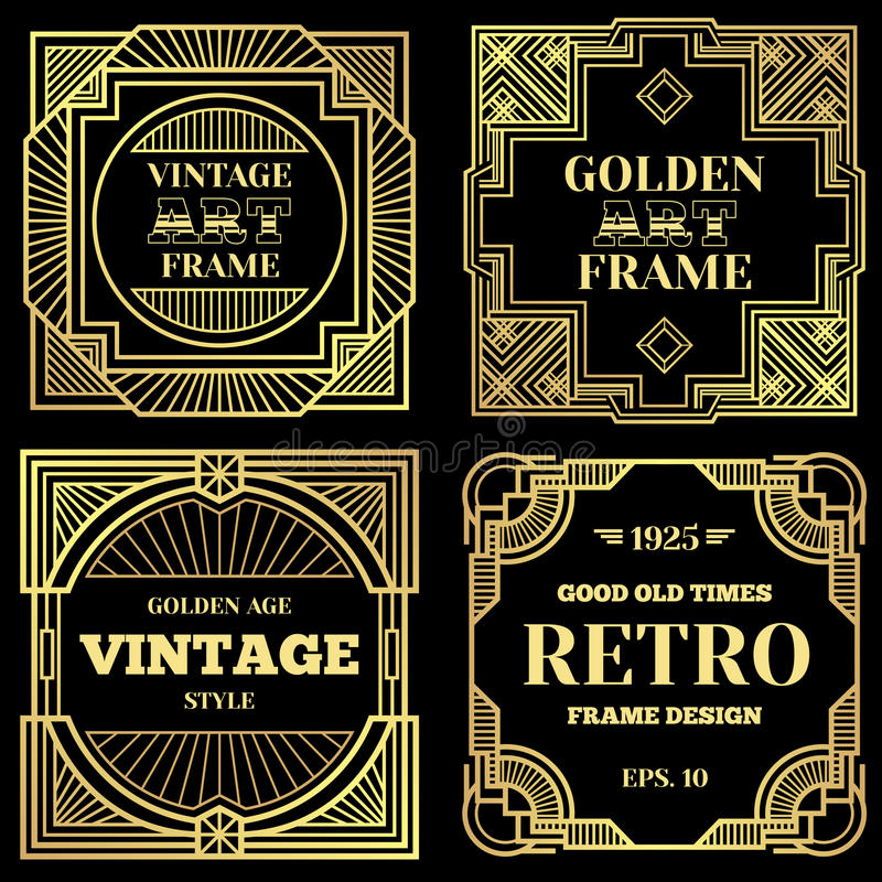 Luxury Poster Vector Design With Gold Frames In Art Deco Old Classic - Luxury medical poster presentation template ideas