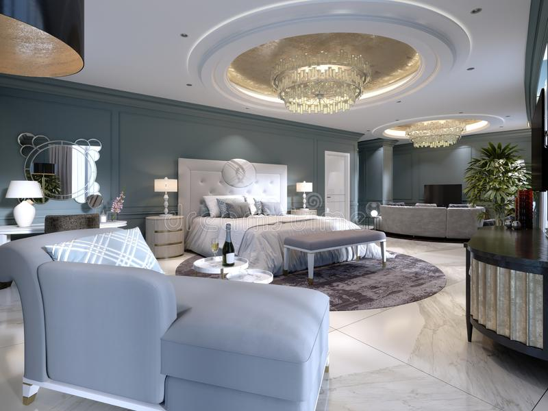Luxury presidential suite with a bedroom and a large bed and a living room with a sofa and a TV stand. 3d rendering royalty free illustration