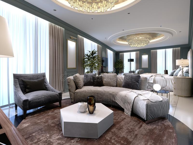 Luxury presidential suite with a bedroom and a large bed and a living room with a sofa and a TV stand. 3d rendering vector illustration