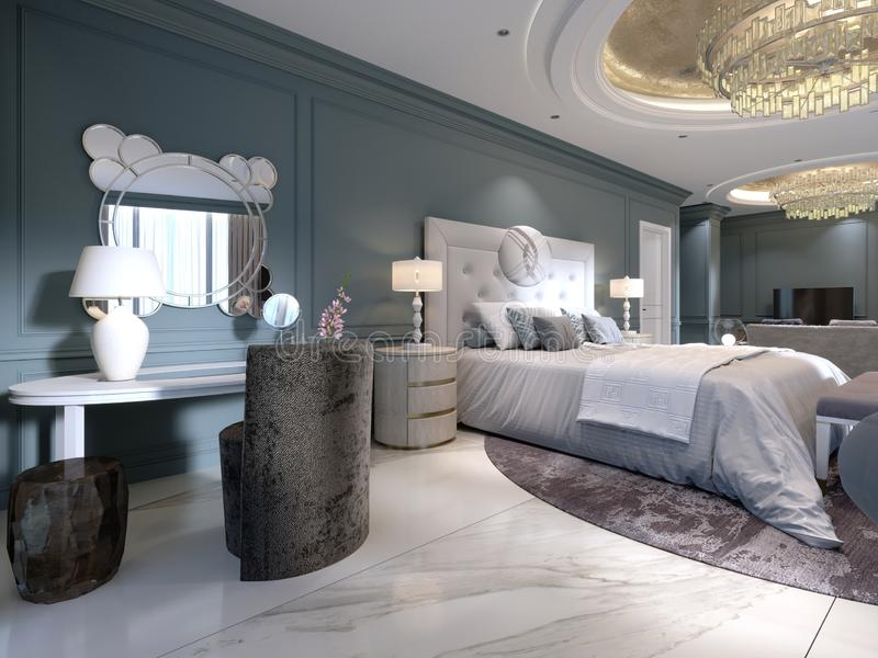 Luxury presidential suite with a bedroom and a large bed and a living room with a sofa and a TV stand. 3d rendering stock illustration