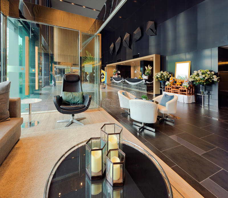Luxury private lobby in a hotel, Entrance and reception stock photos