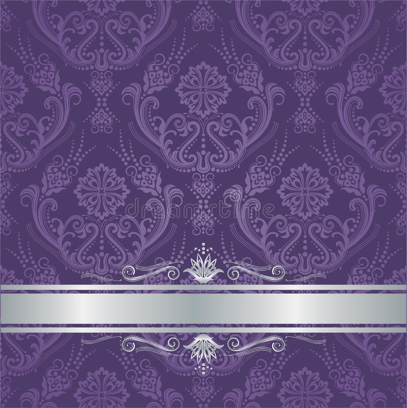 Luxury purple floral damask cover silver border. Luxury purple victorian style floral damask wallpaper cover with silver border. This image is a vector royalty free illustration