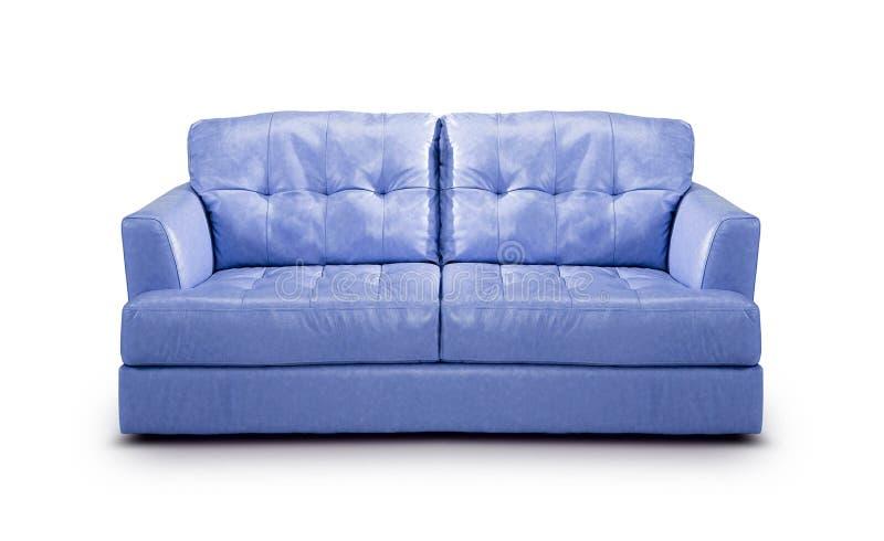 Luxury purple leather sofa. Isolated on a white background stock image