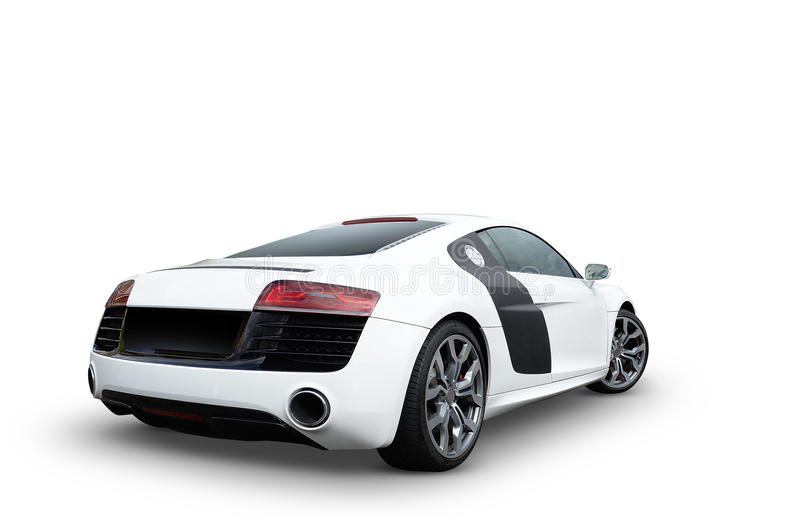 Luxury R8 Audi sports car. Rear view of luxury stylish black and white Audi R8 sports car with alloy wheels, white background stock images