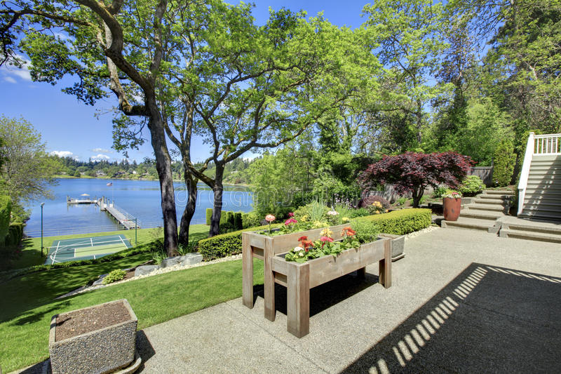 Luxury real estate lake view from home balcony. stock photo