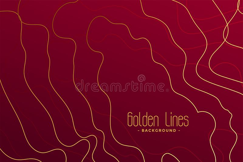 Luxury red background with golden contour lines. Vector royalty free illustration