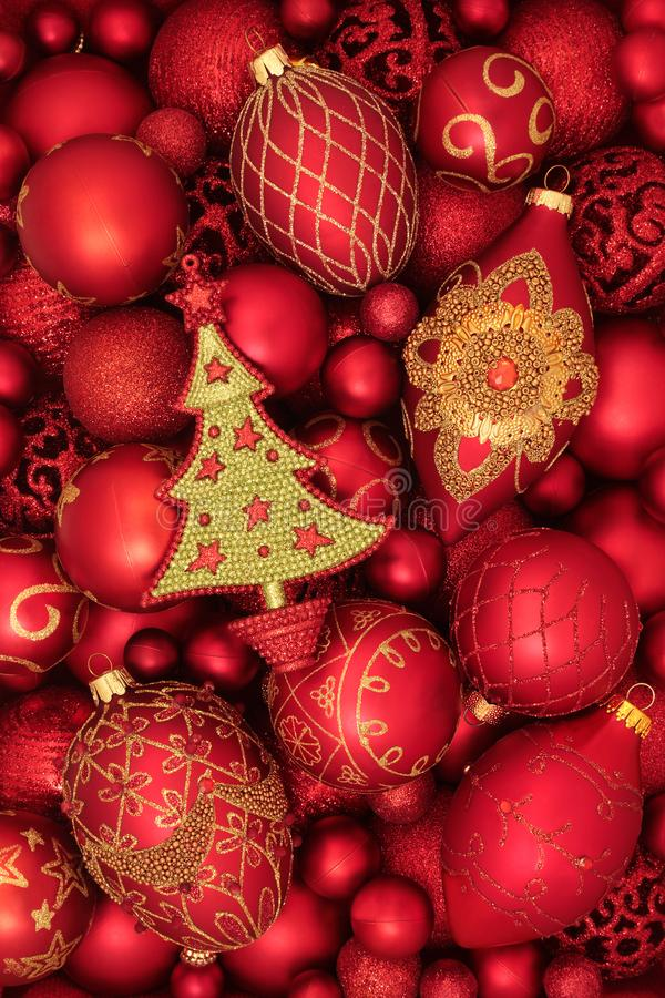 Luxury Red and Gold Christmas Tree Decorations royalty free stock photo