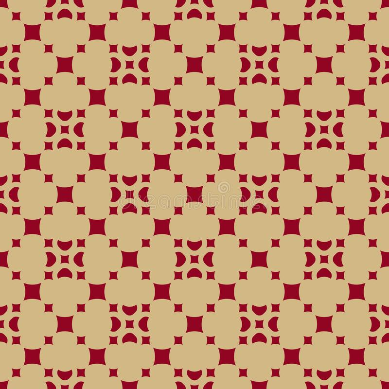 Luxury red and gold vector geometric seamless pattern with floral figures, small squares, diamond shapes, repeat tiles. vector illustration