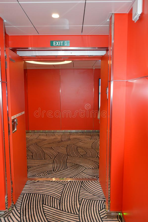 Luxury red interior of the inner deck on the cruise ship MSC Meraviglia, October 8, 2018 royalty free stock photo