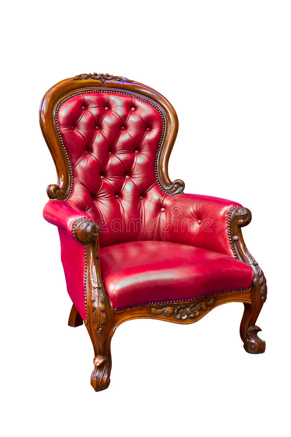 Luxury red leather armchair isolated royalty free stock photo