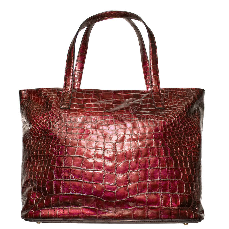 Luxury red leather female bag isolated on white. See my other works in portfolio royalty free stock photos