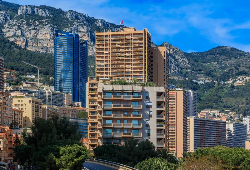 Luxury residential apartment buildings in Monte Carlo of Principality of Monaco, Cote d'Azur or the French Riviera. View of the luxury residential apartment stock image