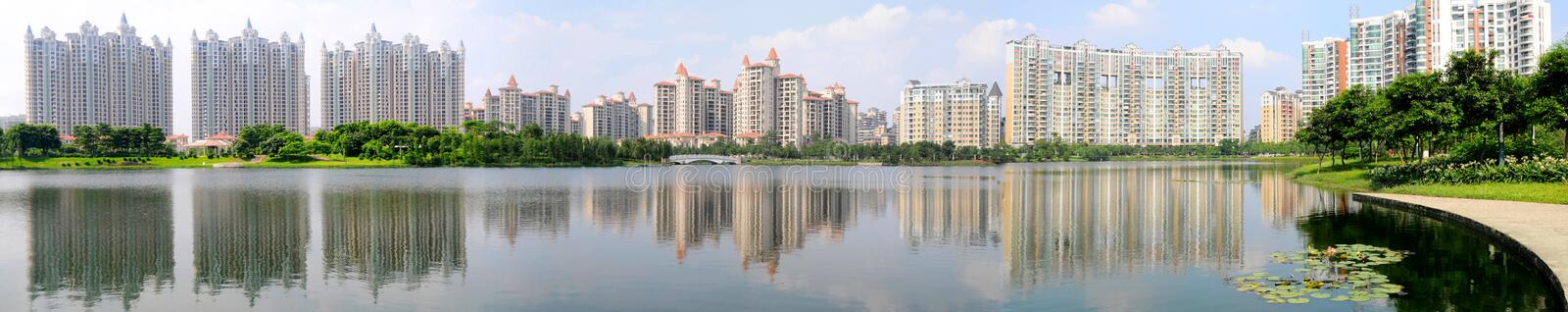 The luxury residential area. A luxury residential area by the city park in Foshan,Guangdong,China stock photography