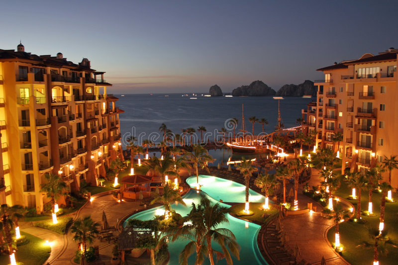 Luxury Resort at Dawn. The view from a balcony of a luxury resort in Cabo, Mexico as the sun begins to rise stock images