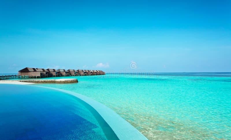 Luxury resort in the Indian Ocean stock photography