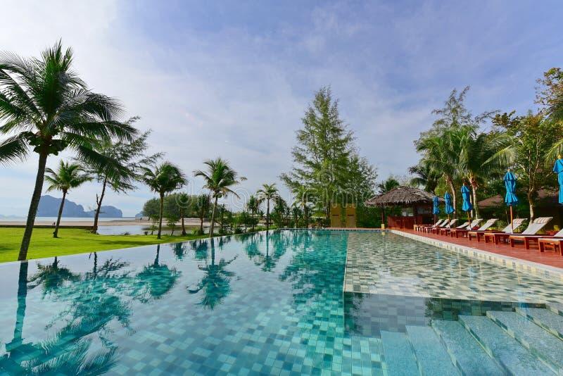 Luxury resort infinity pool royalty free stock photos