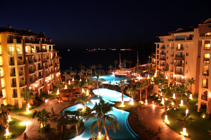 Luxury Resort at Night. A luxury resort lit up at night in Cabo, Mexico royalty free stock photography