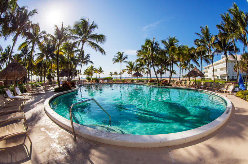Luxury resort pool stock photo
