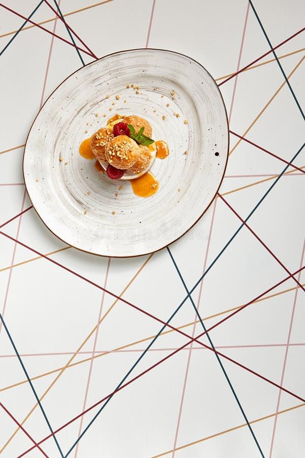 Luxury restaurant dessert top view royalty free stock photos