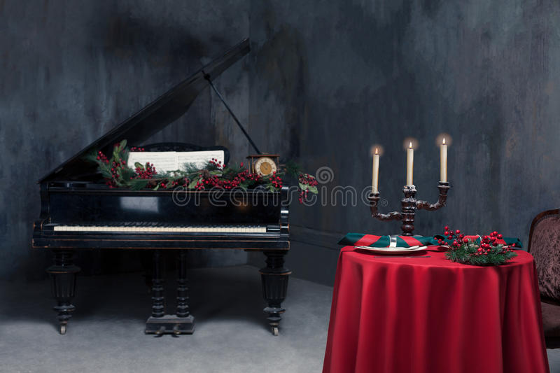 Luxury restaurant interior, vintage piano stock photography