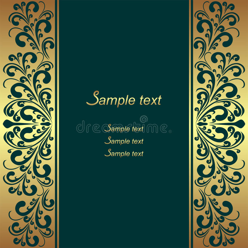 Luxury rifle-green Background with ornamental Borders royalty free illustration