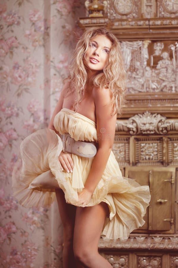 Luxury romantic girl fashion model stock photography