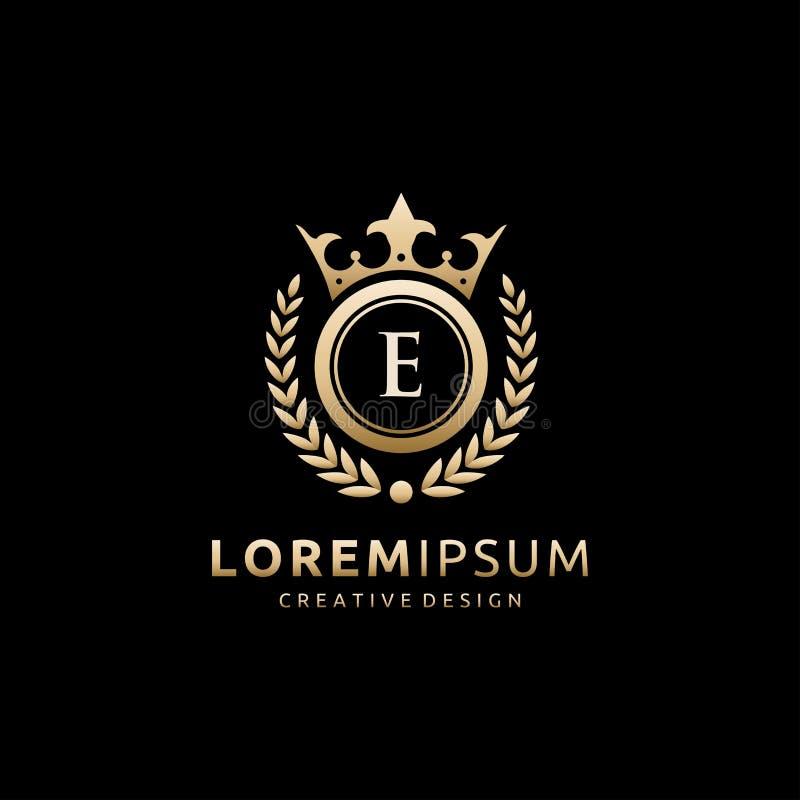 Gold Classy Royal Crown E Letter logo. stock illustration